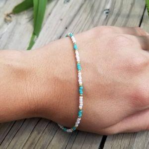 Handmade Matte Beaded Bracelet or Anklet